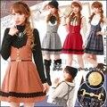 Япония бренд Высокого качества Плед dress Red, Orange, Серый Япония и Корейский стиль dress Sweet Англия Vintage Комбинезоны Бесплатно доставка
