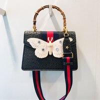 Summer Bamboo Handbag Big Butterfly Ribbon Wide Strap Shoulder Messenger Bags Woemn Purse and Handbags Bolso Mujer