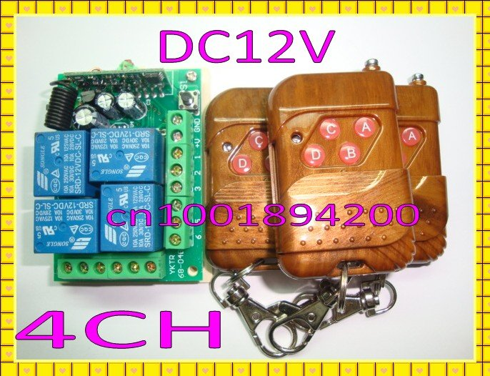 wireless remote control switch system 4CH 4Relay DC12V 1 receiver& 3transmitter 315/433MHZ Learning code output is adjustable remote control switches dc 12v 2ch receiver long range remote control transmitter 50 1000m 315 433 rx tx 2ch relay learning code