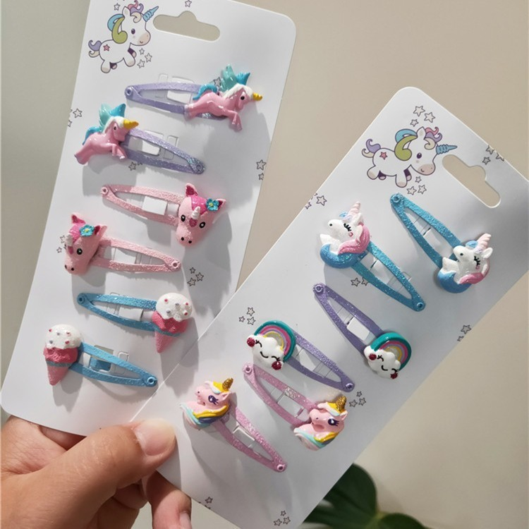 6 PCS Lovely Ice Cream Rainbow BB Clips Girls Hair Accessories Kids Hairpins Children   Headwear   Baby Hair Clips Headdress