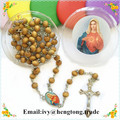 Free shipping perfumer rose scent natural wood beads catholic rosary necklace, religious rosary with center&plastic saint case