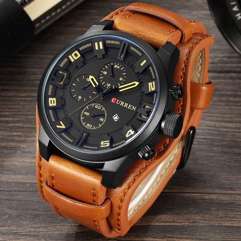 Curren hombres Militar deporte Relojes de cuarzo hombres marca de lujo de cuero reloj masculino Relogio masculino dropshipping 8225