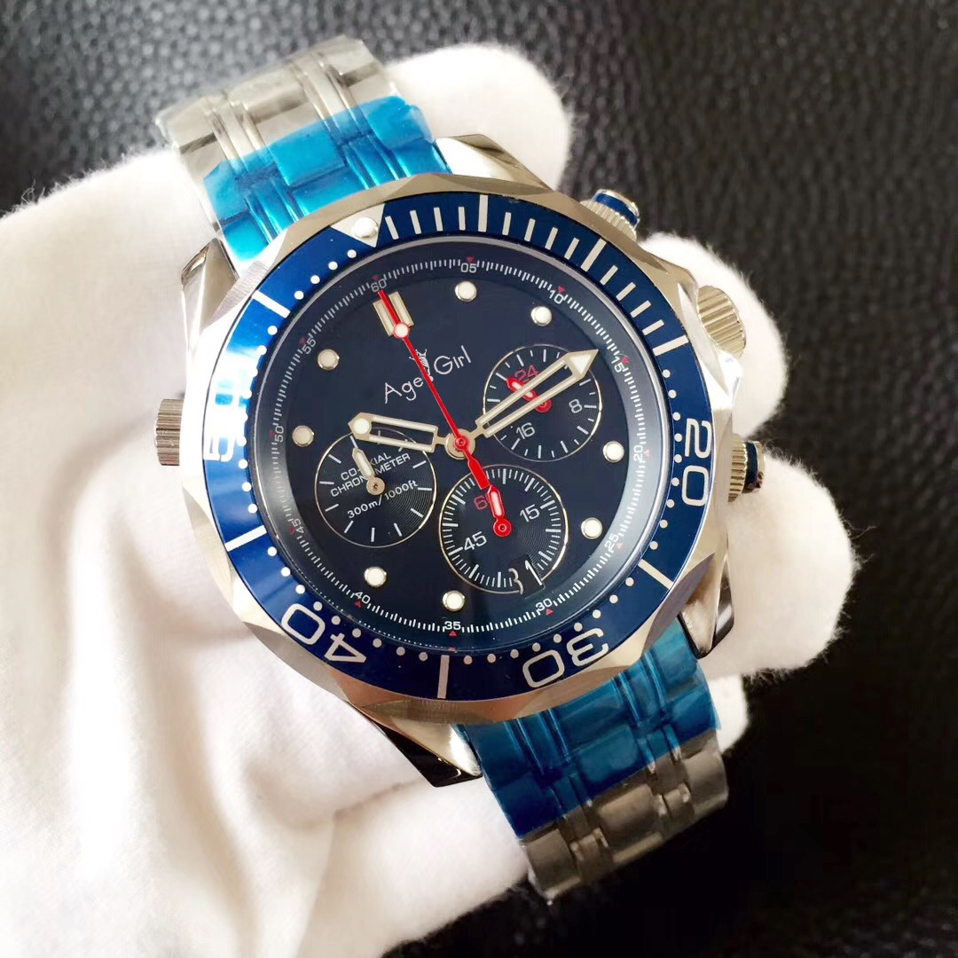 Luxury Brand New Men Professional Sport Watch Fashion Stainless Steel Black Blue Chronograph Sapphire Waterproof Watches AAA+