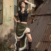 High Low Army Green Steampunk Victorian Bustle Skirt Trimmed with White Lace SP170