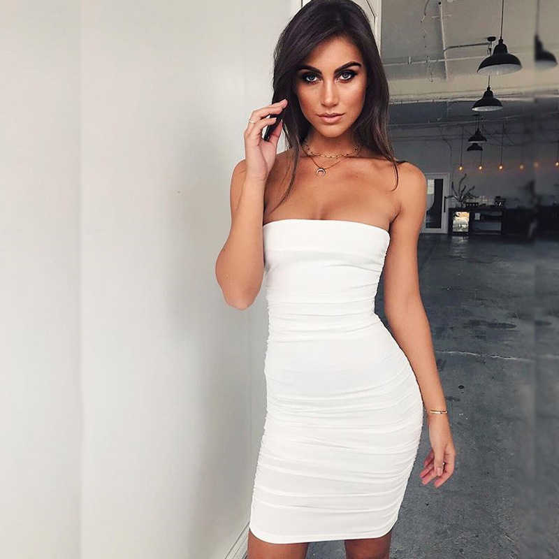 e17f735762 Tube Top Sexy Dress Fashion Straight Solid Sleeveless Slash Neck Women Dress  Robe Femme Ete 2018
