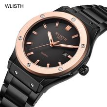 WLISTH Fashion Mens Watches Top Brand Luxury Quartz Watch Men Casual Stainless Steel Waterproof Wristwatch Relogio Masculino