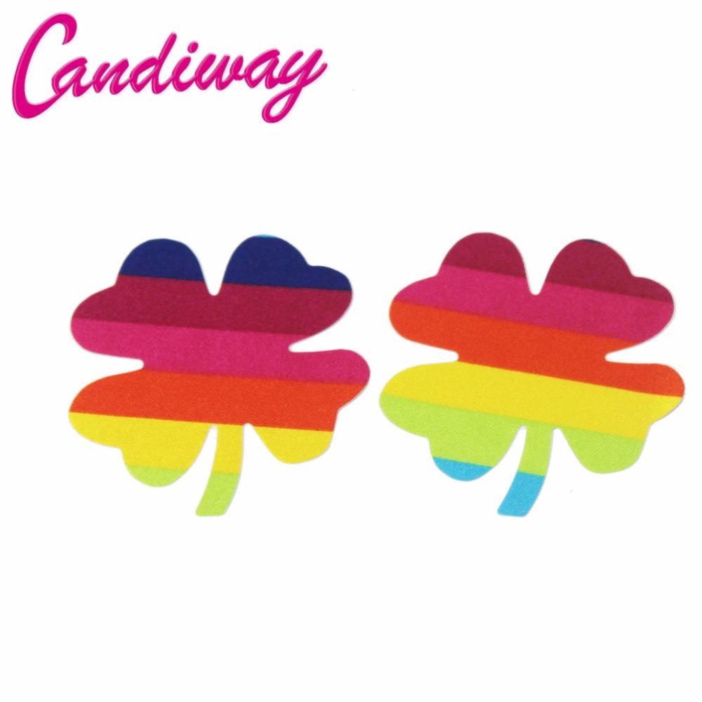 Candiway Sexy Rainbow Women Breasts Stickers Breast Petals Sexy Bra Pad Nipple Cover Disposable Chest Paste Invisible Intimate