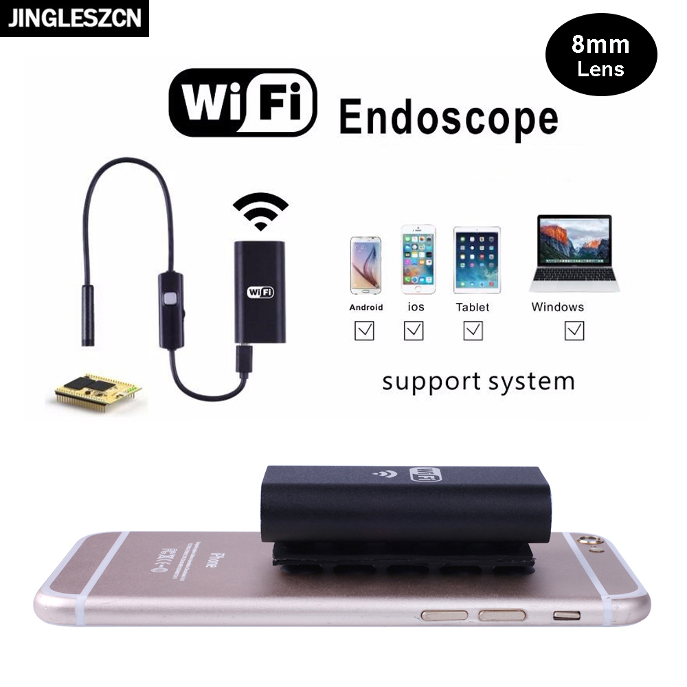 JINGLESZCN Wifi Endoscope Camera 8MM 2M Waterproof USB Endoscope Inspection Borescope Cam Android IOS PC Snake Video Endoscopic fghgf wifi endoscope 4 9mm lens ear nose medical usb endoscope borescope inspection otoscope camera for ios android pc