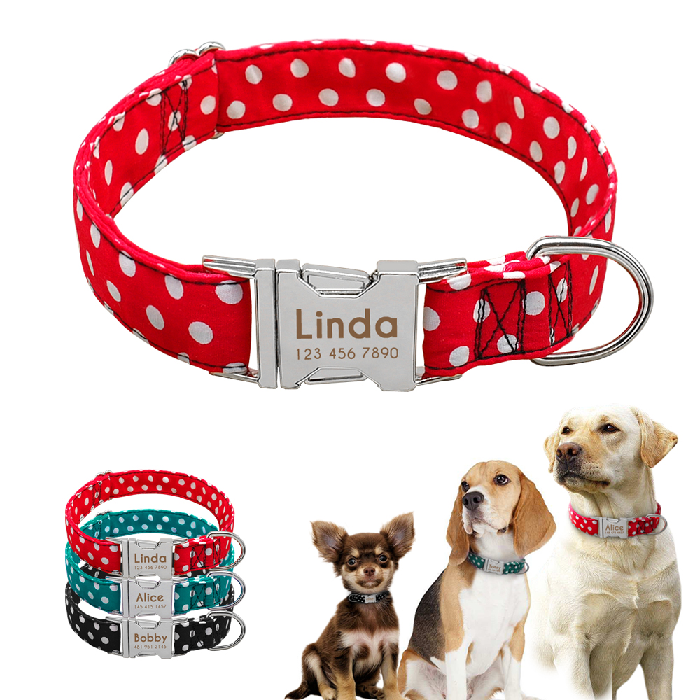 Dog's Polka Dot Collar with Customized Tag ID