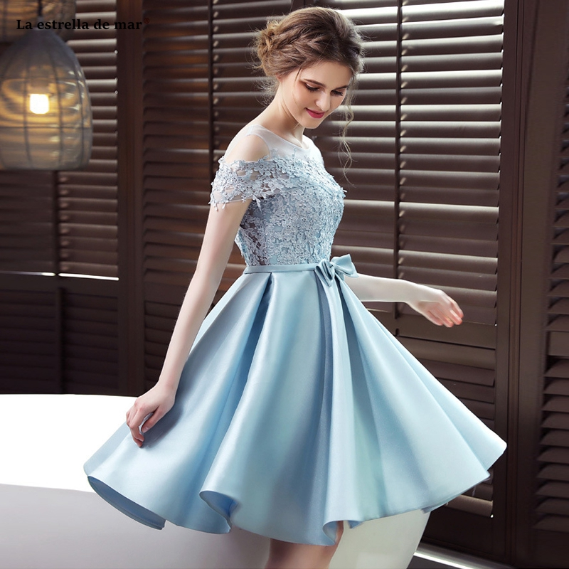 Vestido Boda Mujer Invitada2019  Lace Satin Boat Neck Short Sleeve A Line Light Blue Bridesmaid Dress Short Wedding Party Gow