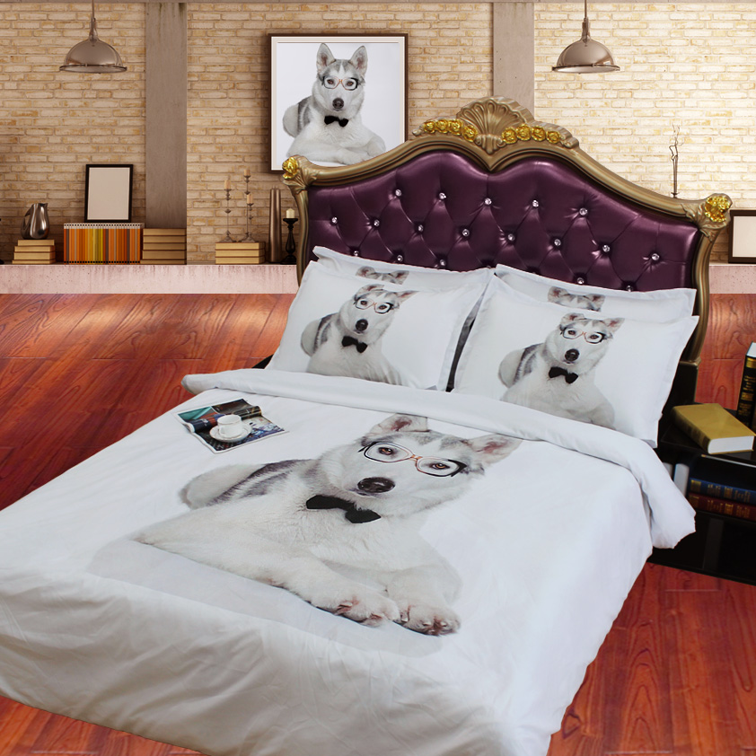 JF 103 4pcs 3D HD Digital Print Dog Printed Bedding Sets Twin Size Single Bed  Sheet Full King Quilt Cover In Bedding Sets From Home U0026 Garden On ...