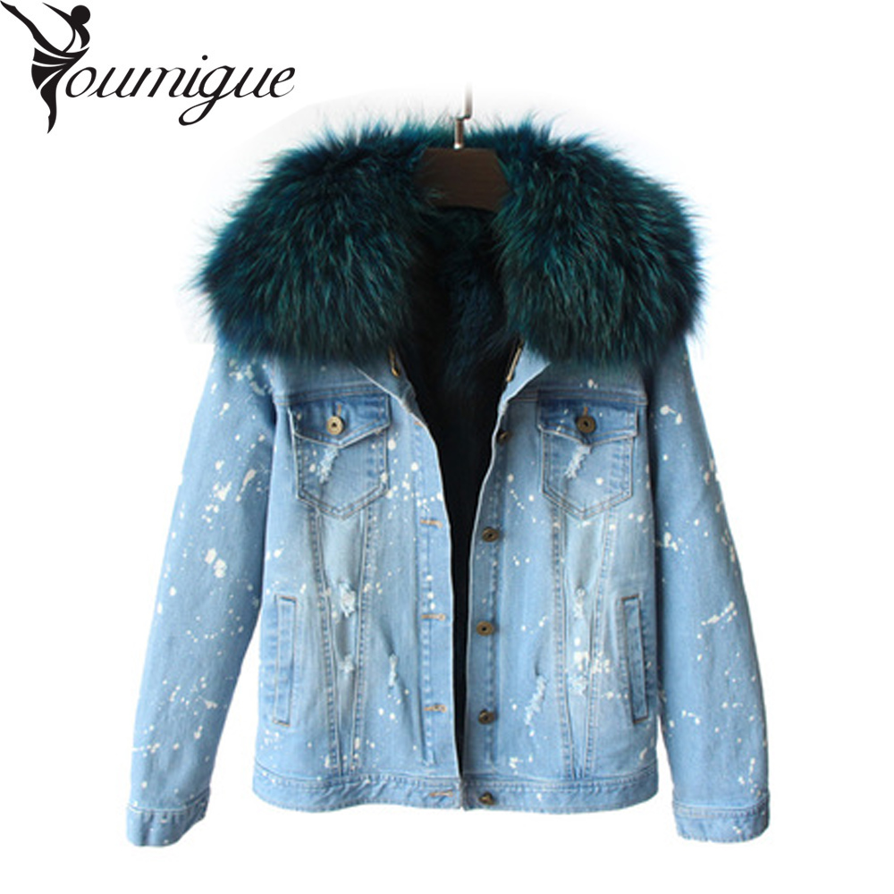 YOUMIGUE 2016 New Women Winter Jacket Coats Thick Parkas Plus Size Real Raccoon Fur Collar Hooded Outwear 5 Days Delivery time plus size 2017 women outwear long camouflage winter jacket thick parkas raccoon natural real fur collar coat hooded pelliccia