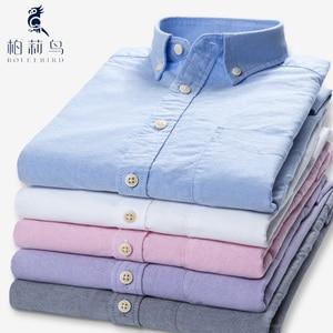Image 4 - 男性のストライプ綿 100% オックスフォード長袖ドレスシャツと胸ポケット標準フィットスマートカジュアルボタンダウンシャツ