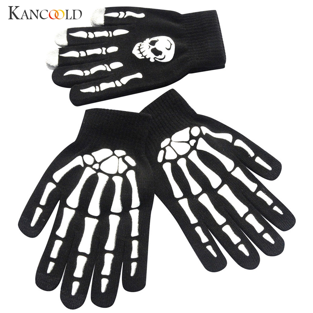 KANCOOLD Gloves Men Skull Bone Skeleton Goth Racing Gloves Non-Slip Sports Full Finger High Quality Fashion Gloves Men 2018NOV28