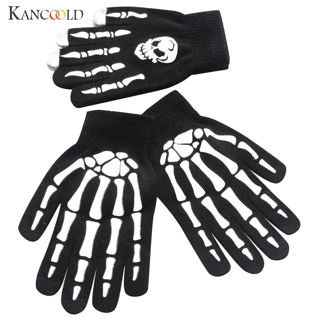 KANCOOLD Gloves Men Skull Bone Skeleton Goth Racing Gloves Non-Slip Sports Full Finger High Quality Fashion Gloves Men 2018NOV28