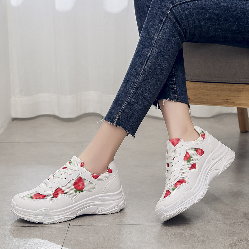 Lucyever Breathable Cut Out Sneakers Women Spring Summer Ladeis Lovely Strawberry White Shoes Woman Casual Platform Flat ShoesLucyever Breathable Cut Out Sneakers Women Spring Summer Ladeis Lovely Strawberry White Shoes Woman Casual Platform Flat Shoes