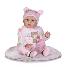 55CM soft silicone vinyl reborn babies dolls cloth body 22'' girls toy for kids Playmate birthday new year's Gift bebe blue eyes 22 inch reborn doll silicone vinyl babies toy for girls gifts 55 cm lifelike soft reborn baby dolls cloth body for kids playmate
