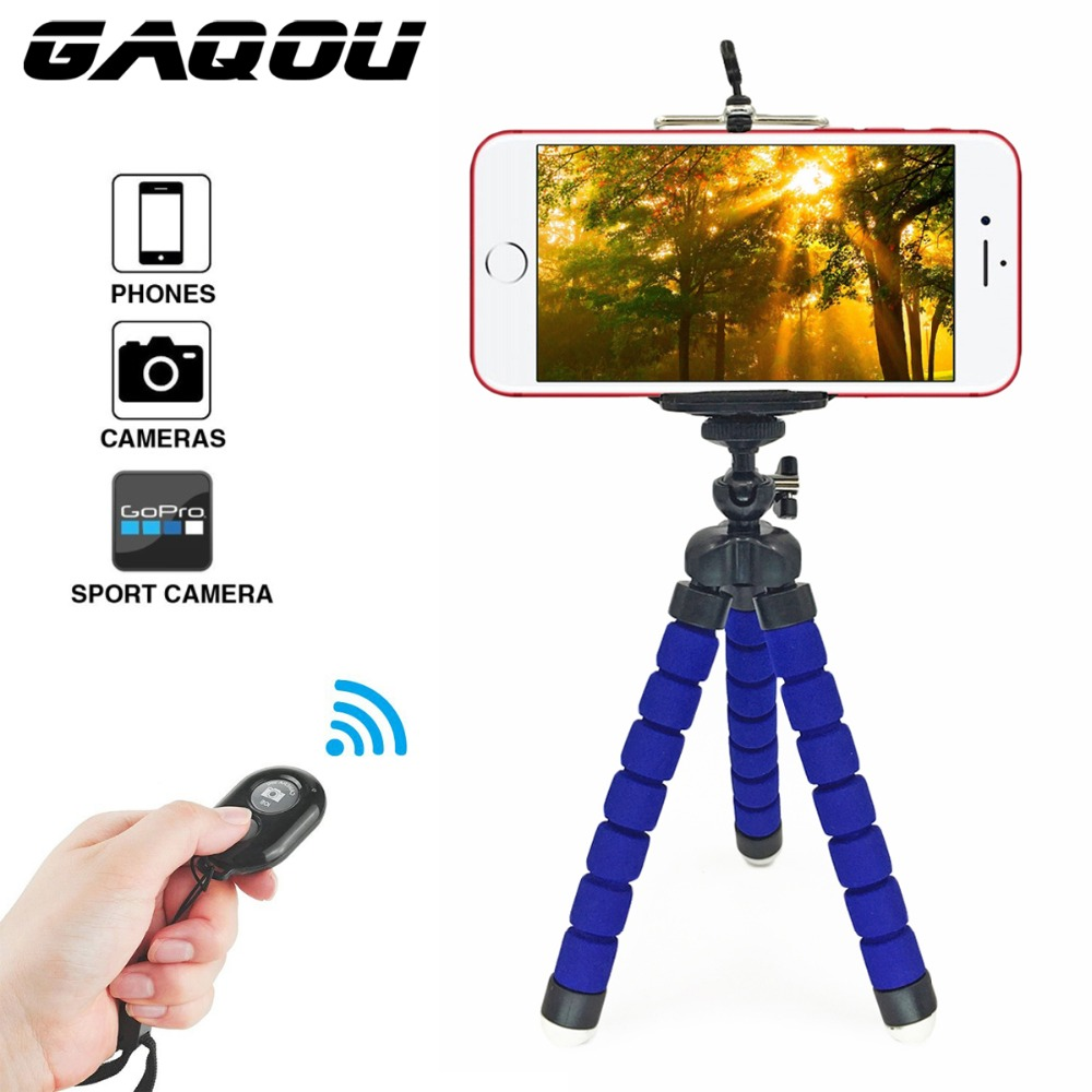 GAQOU Tripod + Clip Stand Mini Flexible For Camera Mobile Phone Holder Stand Flexible Octopus Sponge Tripod Bracket Stand Holder