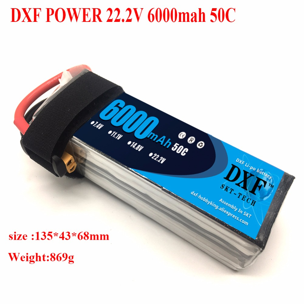DXF <font><b>Lipo</b></font> Battery <font><b>6S</b></font> 22.2V <font><b>6000mAh</b></font> 50C Max 100C for RC Drone FPV UAV Helicopter Quadcopter Aircraft Batteria Akku image