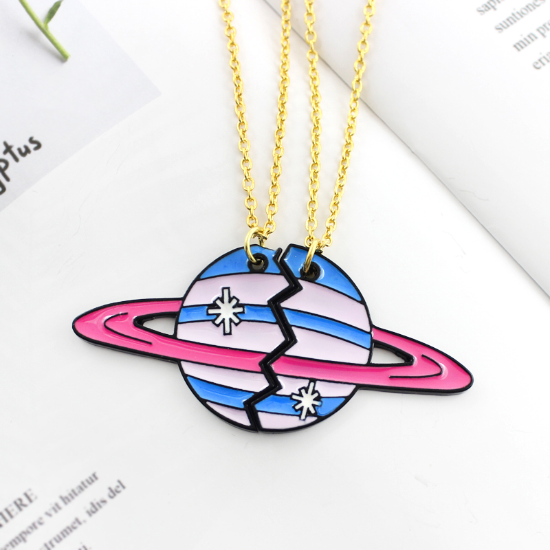 MINGQI Cartoon 2 pcs/set Planet Uranus Necklace Broken Planetary Planet Star Necklace Couple BFF Best Friends Gift women jewelry