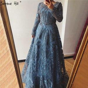 Image 5 - ドバイ高級ロングスリーブウェディングドレス 2020 最新の設計紺 O ネッククリスタルウエディングドレス穏やかな丘プラスサイズ BLA60900