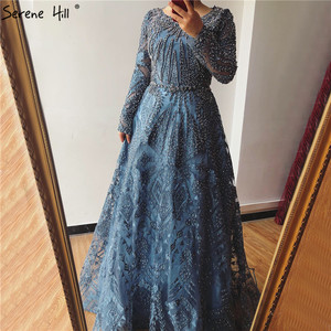 Image 5 - Dubai Luxury Long Sleeves Prom Dresses 2020 Latest Design Navy Blue O Neck Crystal Prom Gowns Serene Hill Plus Size BLA60900