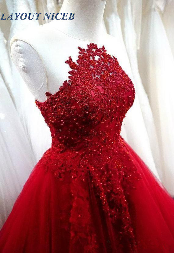 Sexy Dark Red Ball Gown Evening Dresses Wear Jewel Neck Lace Appliques Beads Tulle Puffy Custom Made Backless Prom Dress Formal