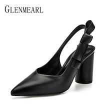 лучшая цена Women Pumps High Heels Shoes Leather Spring Dress Shoes Pointed Toe Party Shoes Woman Concise Female Pumps Slingbacks Plus Size