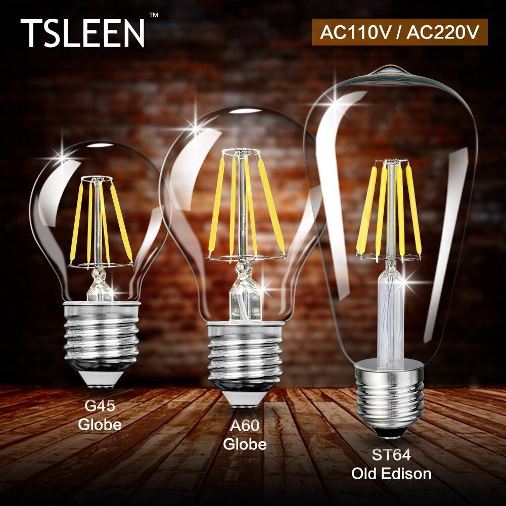 TSLEEN E27 4W 8W 12W 16W G45 A60 ST64 Led Light Lamp Edison Retro Filament COB LED Bulb Vintage Candle Lampada Led AC 110V 220V