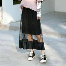 Women Skirt Mesh Sheer Velvet Patchwork High Waist See Through Hollow Out Fashion Double Layers Vintage Summer Pleated 2017