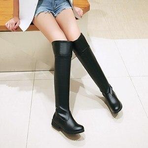 Image 2 - Botas de neve de inverno mulheres moda joelho alto botas para mulheres casual plataforma de salto baixo senhoras sapatos longos calçados de inverno senhora
