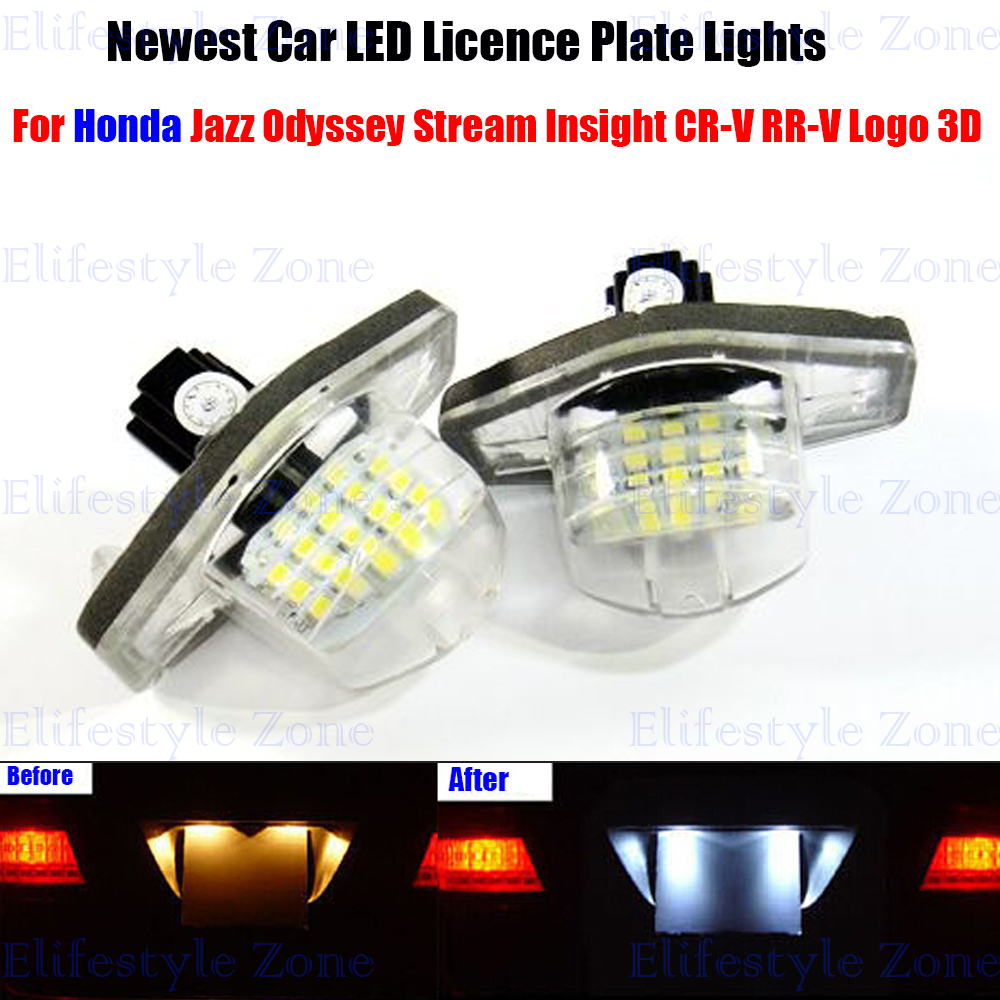 2 x LED Number License Plate Lamps OBC Error Free 18 LED For Honda Jazz Odyssey Stream Insight CR-V FR-V 2 x led number license plate lamps obc error free 24 led for bmw e39 e80 e82 e90 e91 e92 e60 e61 e70 e71