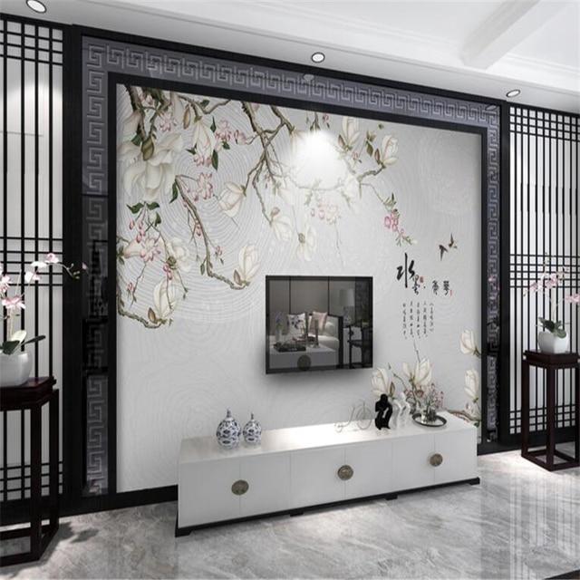 papel tapiz para paredes beibehang d d photo wallpaper murales de flores y pjaros magnolia