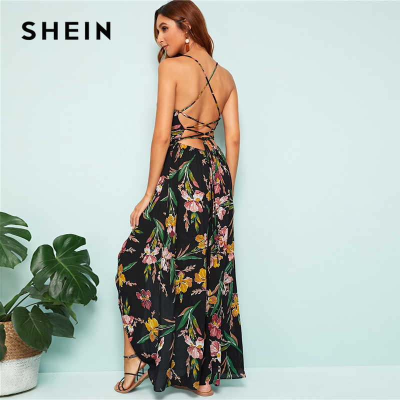 SHEIN черное Летнее Длинное платье с цветочным принтом и перекрестными ремешками на спине, женское элегантное платье на бретельках в стиле бохо