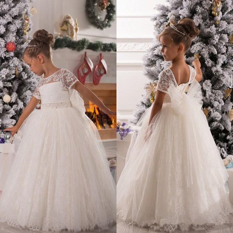 Vintage Lace Tulle Ball Gown   Flower     Girls     Dress   for Weddings Party Custom Made Kids Pageant   Dresses