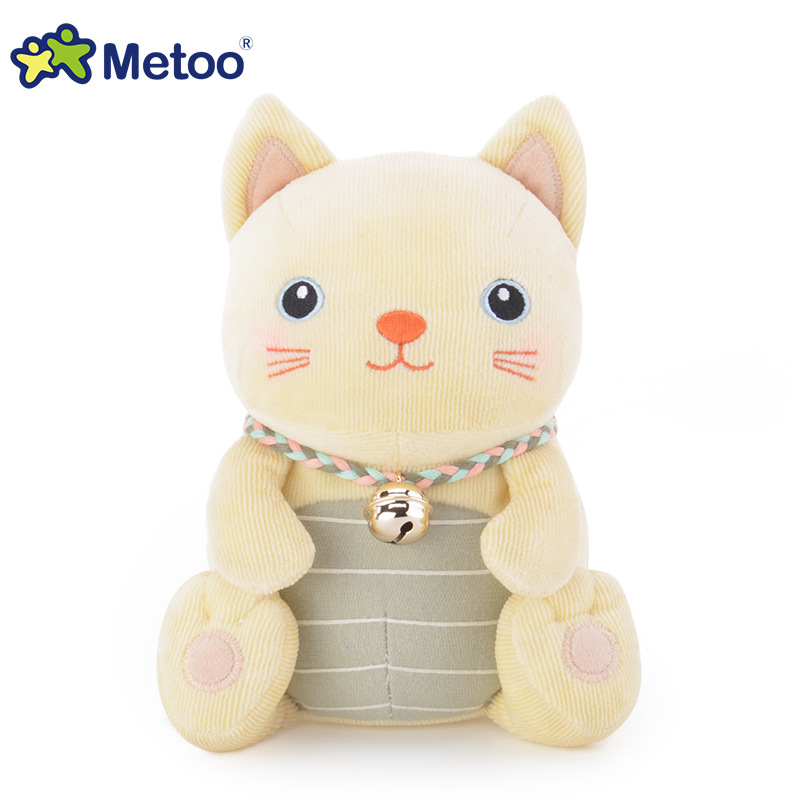 Top quality famous brand Metoo bells hold pillow doll plush kawaii yellow and grey cat and