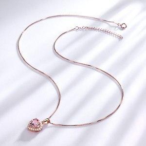 Image 2 - Umcho sólido 925 prata esterlina pingentes colares para as mulheres rosa morganite charme pingente de coração para presente da menina jóias finas