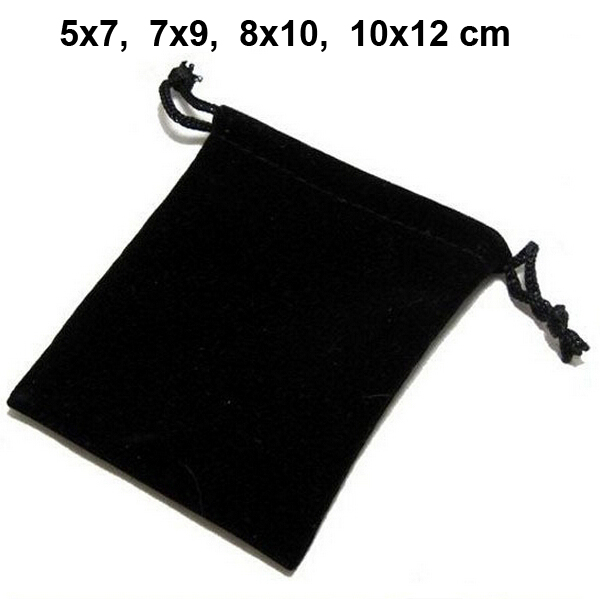 100pcs/lot 5x7, 7x9, 8x10, 10x12cm Black/Blue/Red/Wine Red Drawstring Velvet Bags & Pouches Jewelry Bags Gift Packaging Bag цена