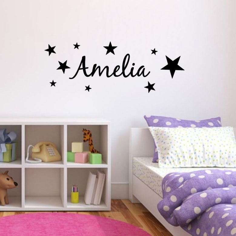 Stars Kids Personalized Name Bedroom Decoration Vinyl Art Design Wall Sticker Beauty Cute Boys Girls Custom Name Decals W542 in Wall Stickers from Home Garden