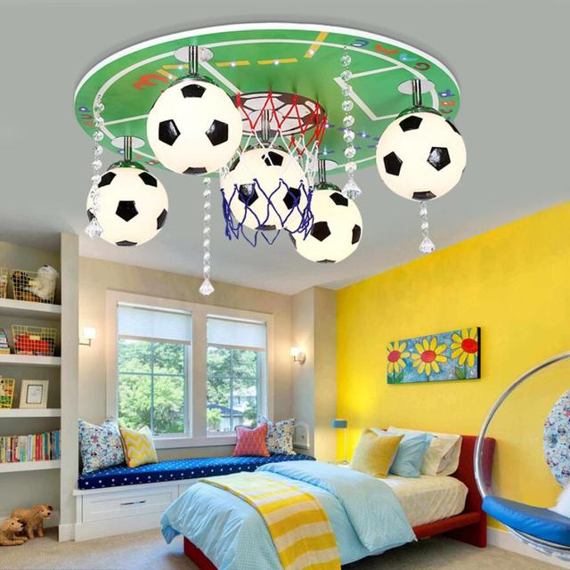 Children S Bedroom Lamp Boys Study Modern Fashion Cartoon Creative Personality Football Wooden Ceiling