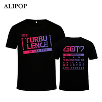 ALIPOP Kpop Korean Fashion GOT7 2017 USA Album Concert TURBU LENCE Cotton Tshirt K POP T