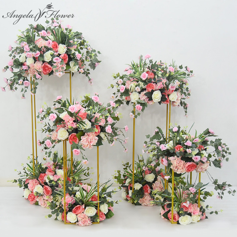 Wedding creative geometry road lead arch decor artificial flower wrought metal iron square block party event
