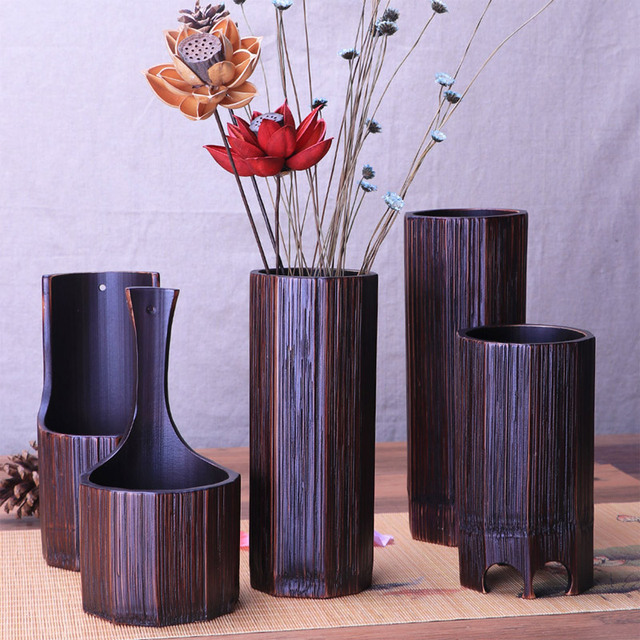 Wedding Decoration Flower Vases Bamboo Flower Pots Stands For Living