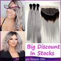 13x4 Lace Frontal With 3Pcs Grey Ombre Human Hair Brazilian Straight Two Tone Ombre Hair Weave Silver Gray Ombre Hair Extensions