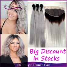 13×4 Lace Frontal With 3Pcs Grey Ombre Human Hair Brazilian Straight Two Tone Ombre Hair Weave Silver Gray Ombre Hair Extensions