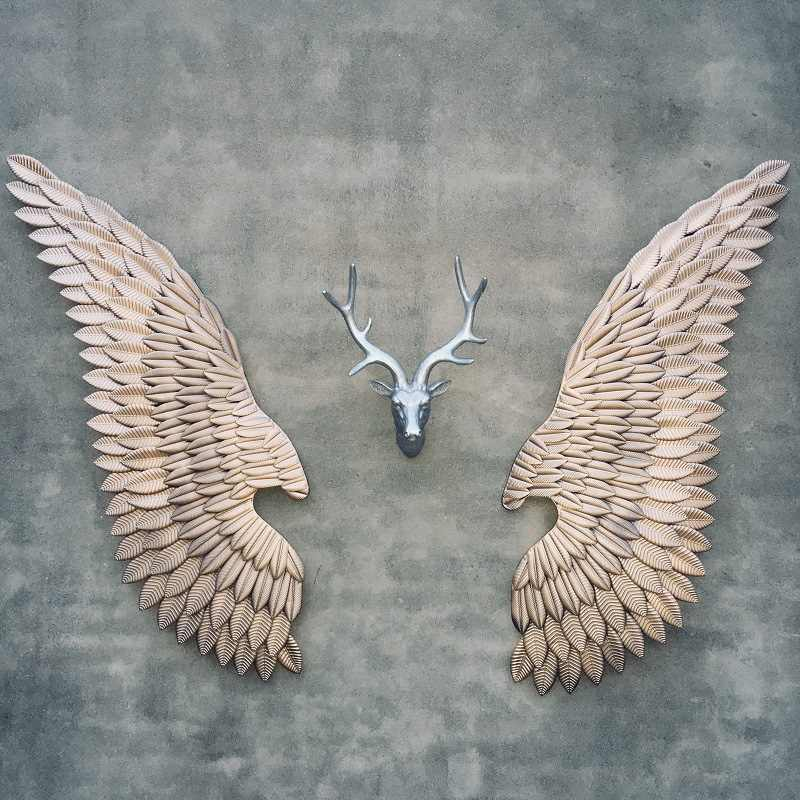 Home LED Lights Retro Industrial Type Wall Mounted Decoration Wall Hanging  Decor Craft Iron Angel Wings Bar Wall Decoration