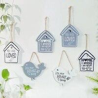 Скандинавские креативные деревянные подвесные птичьи дома открытка в виде домика домашний настенный Декор стены комнаты подвесные предме...