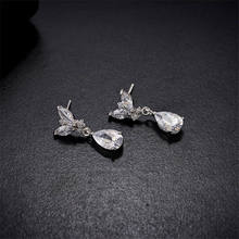 Prosty japoński i koreański styl naszyjnik zestaw kolczyków ślubne biżuteria na przyjęcie ślubne zestaw ubrać naszyjnik zestaw kolczyków tanie tanio Moda Zestawy biżuterii TRENDY Rocznica Geometryczne Miedzi lachaphew Kobiety Naszyjnik kolczyki Cyrkonia necklace earring set