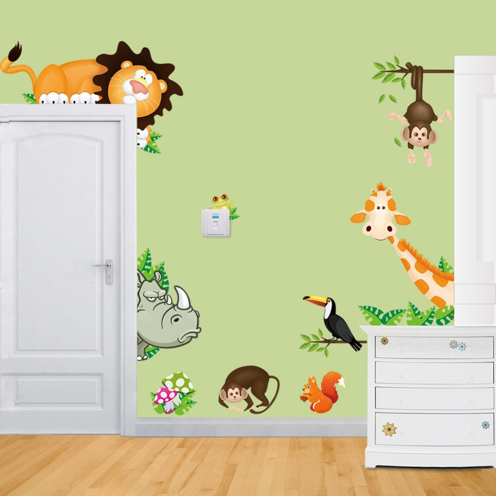 Baby boy room decor stickers - Tropical Jungle Animals Wall Stickers Decal Kids Monkey Deer Forest Vinyl Wallpaper Baby Nursery Home Room Conner Door Diy Decor