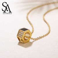 SA SILVERAGE Real 9K Yellow Gold Round Pendant Necklace Gemstone Choker Necklaces 9K Pendant With Gold Color Silver Chain
